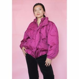 vtg 80s puffy pink electric coat ⚡️
